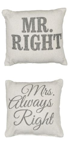 His & Hers Pillows. Very cute on chairs. Also a great gift.
