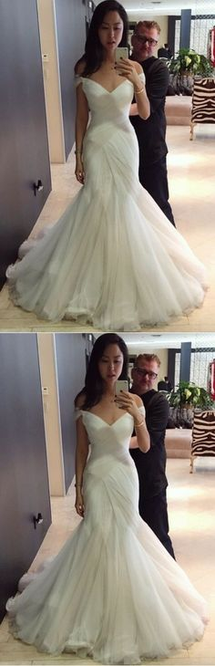 Sexy Wedding Dresses Trumpet/Mermaid Sweep/Brush Train Bridal Gown +would look good with halter straps instead #weddingdresses