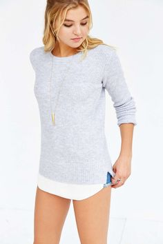 UNIF X UO Waffle Mix Sweater ($79) - Lavender and Grey