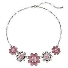 Pink Glitter Flower Statement Necklace