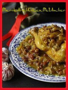 Lekkere hartig-zoete tajine van kip met uien en rozijnen.....Dit heb je nodig1 in stukken gesneden kip of1 kilo kipdrumsticks3 uien200 gram gedroogde rozijnen2 fijngehakte ten