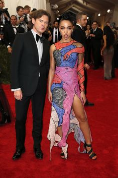 Christopher Kane and FKA Twigs, 2015 Kane in Brioni tuxedo and FKA Twigs in a dress by Christopher Kane