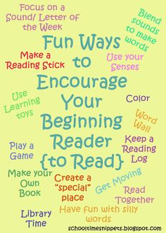 School Time Snippets: Ways to Encourage Your Beginning Reader. Pinned by SOS Inc. Resources. Follow all our boards at pinterest.com/sostherapy for therapy resources.