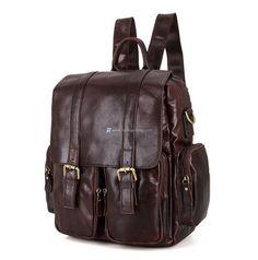 Vintage Genuine Leather Brown Men Backpack Schoolbag Mochila Shoulder Bag With Laptop Compartment Rucksack Bag, Men's Backpack, Messenger Bag, Tote Bag, Fashion Backpack, Cowhide Leather, Leather Men, Leather Fashion, Real Leather
