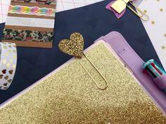 Glitter Heart Cabochon Paperclip, Gold Glitter Planner Clip, Cute Bookmark, Filofax, kikki.K, Fauxdori Accessory