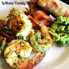 Cilantro lime shrimp.  More like a simple pesto you toss your grilled shrimp in; serve with rice or pasta.
