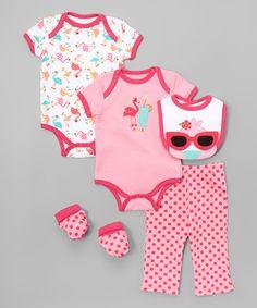 Another great find on #zulily! Fuchsia Purple & Sugar Plum Flamingo Bodysuit Set - Infant #zulilyfinds