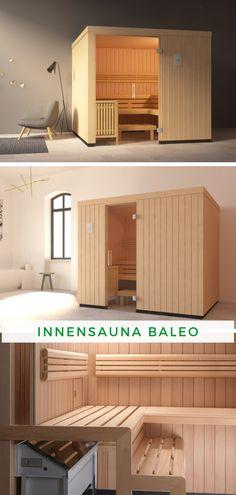 Sauna im Haus: Bringen Sie Entspannung pur in Ihre vier Wände mit der Röger Innensauna Baleo. Die moderne Designsauna ist das neue Highlight in Ihrem Badezimmer oder Keller. Bei einem wohltuenden Saunagang mit bis zu vier Personen können Sie den Stress des Alltags vergessen. Dank der vier verschiedenen Größen passt diese Sauna sicherlich auch in Ihr zuhause. Jetzt Wohlfühloase kaufen!  #Sauna #Innensauna #Innenkabine #Wellness Mini Sauna, Garage Doors, Stress, Wellness, Outdoor Decor, Design, Home Decor, In Wall Oven, Sauna Ideas