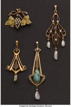 Four Antique Drops. ... (Total: 4 Items) Estate Jewelry Pendants | Lot #71020 | Heritage Auctions Charmed, Bracelets, Jewelry, Fashion, Victorian Jewelry, Victorian, Charm Bracelets, Jewellery Making, Moda