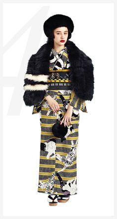 2016 kimono collection by Furifu. I love the foxes one :D Yukata Kimono, Kimono Dress, Traditional Japanese Kimono, Traditional Dresses, Geisha, Modern Kimono, Design Textile, Modernisme, Summer Kimono
