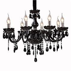 GORGEOUS!! Ceiling Lights - Chandeliers - Crystal Chandeliers - Black Crystal Chandelier with 8 Lights