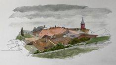 Watch me paint this beautiful Swiss vineyard village of Rivaz. Watercolor Landscape Paintings, Watercolor Sketch, Sketching, Vineyard, Landscapes, Watch, Videos, Beautiful, Art