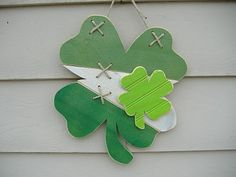 wood stiched Irish flag shamrock
