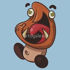 Excited Goomba T-shirt by Artistic Dyslexia. artisticdyslexia.com Also available in Adult and Children's Apparel; Onesies; Leggings; Skirts; Dresses; Prints, Posters and Greeting Cards; Wall Tapestries; Wall Clocks; Stickers; iPhone, iPod, iPad and Samsung Cases; iPhone and iPad Skins; Throw Pillows; Mugs; Travel Mugs; Duvet Covers; Studio Pouches and Tote Bags! wbw, way back wednesday, mushroom, fungus, bad guy, monster, excited, happy, enemy, nintendo, super mario brothers, mario, super…