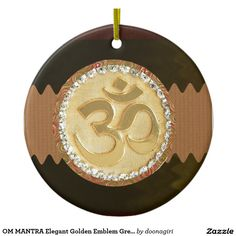 OM MANTRA Elegant Golden Emblem Greetings Gifts 99 Double-Sided Ceramic Round Christmas Ornament