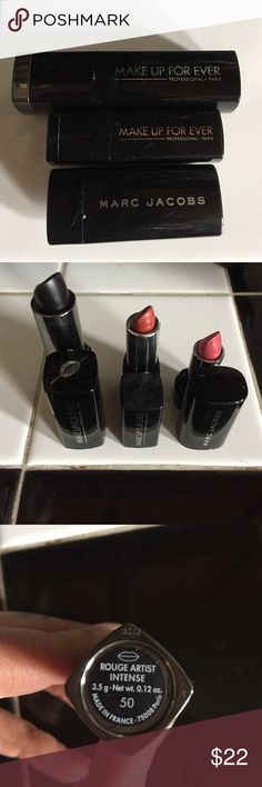 Make up forever lipstick lot One full sized rouge artiste intense (black). Plus a sample size of rouge artiste natural and a sample Marc Jacobs in kiss kiss bang bang makeup forever  Makeup Lipstick