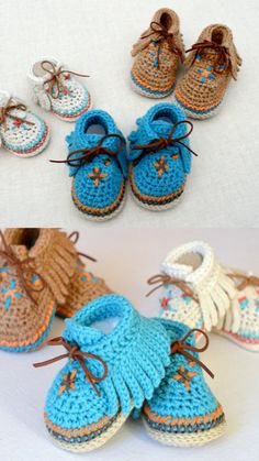 Best 12 Crochet Child Booties Crochet Baby Booties Supply : Crochet Baby Moccasins by debozark – SkillOfKing. Crochet Baby Sandals, Booties Crochet, Baby Girl Crochet, Crochet Shoes, Crochet Baby Booties, Crochet Slippers, Baby Boy Booties, Crochet Baby Blanket Beginner, Baby Knitting