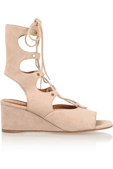 Chloé Lace-up suede wedge sandals | NET-A-PORTER