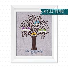Personalized family tree poster digital file perfect gift or home blended family gift personalized family tree bird family tree custom family tree printable saigontimesfo