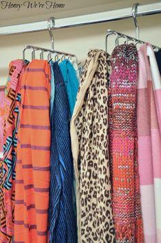 Organizing scarves in closet scarf organization scarf hanger scarf storage diy lost at seame organizing scarves Master Closet, Closet Bedroom, Closet Space, Walk In Closet, Scarf Rack, Scarf Hanger, Scarf Organization, Home Organization, Organizing Scarves