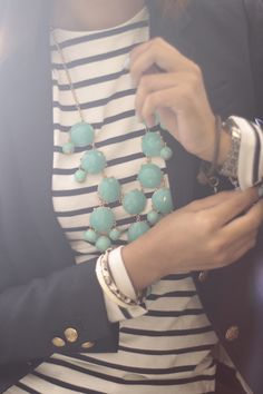 Love this mint and navy. Classic look with fresh colors.