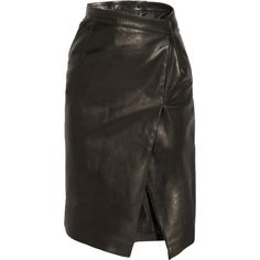 Vetements Wrap-effect leather pencil skirt ($1,920) ❤ liked on Polyvore featuring skirts, vetements, knee length leather skirt, leather skirt, wrap skirt, wraparound skirt and real leather skirt