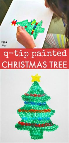 This q-tip painted tree is the perfect Christmas Craft for kids. I love that I already have all the supplies I need at home! Christmas Crafts For Kids To Make, Christmas Tree Painting, Christmas Activities For Kids, Craft Projects For Kids, Easy Crafts For Kids, Toddler Crafts, Simple Christmas, Preschool Crafts, Kids Christmas