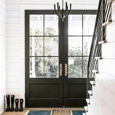 Glass front doors | Black front doors | Double front doors | Shiplap entryway