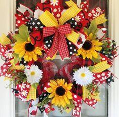 Burlap Wreaths For Front Door, Sunflower Burlap Wreaths, Deco Mesh Wreaths, Door Wreaths, Floral Wreaths, Holiday Wreaths, Easter Wreaths, Baby Wreaths, Year Round Wreath
