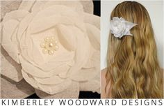 Beautiful new silk georgette hair flower. Each individual petal is hand tooled using vintage flower making tools. Delicate learns are featured in the centre of the flower.  KIMBERLEY WOODWARD DESIGNS