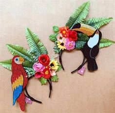 Fascinator Headband, Floral Headpiece, Diy Headband, Fruit Birthday, Flamingo Birthday, Birthday Party Themes, Carnival Show, African Art Projects, Havana Nights Party