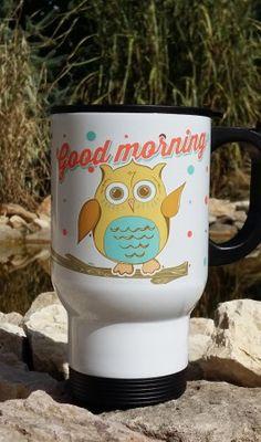 Termosz bögre retro bagoly Good Morning, Mugs, Tableware, Buen Dia, Dinnerware, Bonjour, Tumblers, Tablewares, Mug
