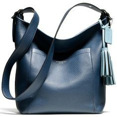 Coach Pebbled Hobo in Coastal Blue