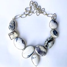mineraliety: Dendrite Opal necklace by indieandharper keeps it classic with black and white stones ///// #whyiloveminerals www.indieandharper.comwww.mineraliety.com