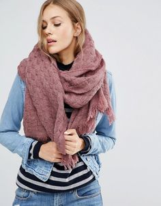 ASOS   ASOS - Écharpe carrée oversize en laine mélangée tressée effet vannerie