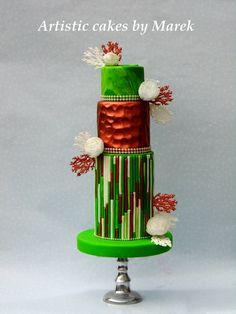 Wedding cake - cake by Marek Make Your Own Wedding Cakes, Unique Wedding Cakes, Wedding Cakes With Flowers, Wedding Cake Designs, Beautiful Cake Designs, Beautiful Cakes, Button Cake, Modern Cakes, Fairy Cakes