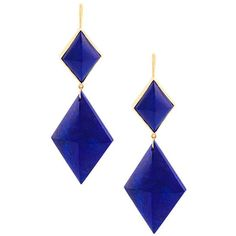 Marie Helene De Taillac Double Triangular Earrings ($1,995) ❤ liked on Polyvore featuring jewelry, earrings, blue, blue earrings, triangle earrings, earrings jewelry, blue jewelry and triangular earrings