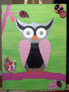 My 2nd owl painting for a friend's daughter's room. Acrylic paint, scrapbook paper, fabric, adhesive jewels for the eyes and the outer edge is zebra print fabric