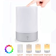 POTO Rechargeable LED Touch Sensor Bedside Lamp Dimmable Warm White Light Table Lamp Gift for Children Mood lights Decoration for Night Room * Click on the image for additional details. (This is an affiliate link and I receive a commission for the sales)