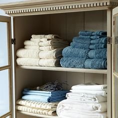 A place where we can display rolled towels, products, robes for guests, etc. This shelving should be open, to continue the open sense of a spa room. Make it cohesive and keep it maintained and it will easily stay an attractive section of your spa. Linen Closet Organization, Organization Hacks, Organizing, Silica Gel Uses, Spa Interior, How To Roll Towels, Glass Front Cabinets, Spa Rooms, Love Home