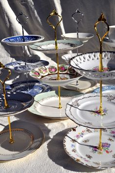 Repurposed china into cake stands, serving dishes.....