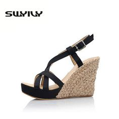c1d28f3415e8 Bohemian Roman Slope Plus Size 34-43 Sexy High Waterproof Sandals 2017 New Women  Wedge