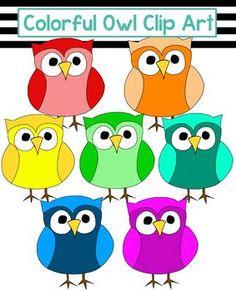 Colorful Owl Clip Art -- 15 Images