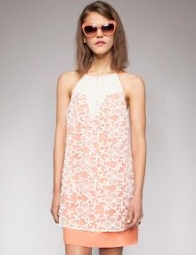 daisy embroidered halter dress