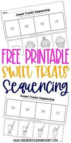 These Sequencing Worksheets for Preschoolers are great for practicing creative thinking and problem solving skills as well as having fun with sweet treats that your little kids are sure to enjoy! Grab yours today! #preschool #sequencing #sweets #baking Sequencing Worksheets, Printable Preschool Worksheets, Preschool Themes, Worksheets For Kids, Free Printables, Sensory Activities Toddlers, Kids Learning Activities, Sensory Play, Craft Projects For Kids