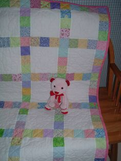 Sweet Baby Girl Quilt With Hand Quilted by JoyfulQuiltsbyJoyce, $85.00
