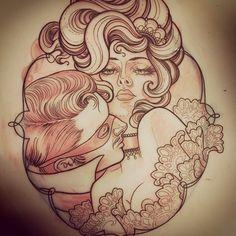 Woman | Men | Erotik | erotic | erotisch | Frau | Mann | Girl | Gesicht | Frauengesicht | Womanface | traditional | Romanze | Romantik |oldschool | Haar | Frisur | Tattoo | Tattoovorlage | Vorlage | Design |