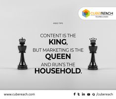 "n the world of SEO, you may know that ""Content is the King"". But, there should be something to deliver your content to the targeted audience that you are looking for. That the reason we say ""Marketing is the Queen"" which runs the household in an ideal way. #ContentMarketing #SEODubai #CubeReach"