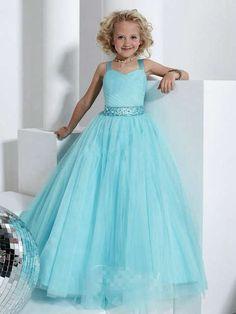 Wedding Party Dresses | Flower Girl Dresses | Wholesale Beading Blue Flower Girl Dress with Ball Gown