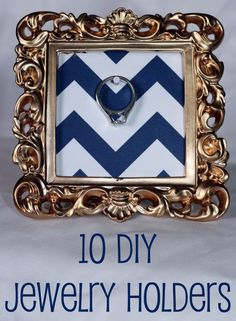 10 DIY Jewelry Holders: like this one (albeit not gold or chevron) with a small stand frame to go on the bathroom counter specifically for my wedding ring. Some things are extra special and deserve the extra attention. Wedding Picture Frames, Wedding Frames, Jewellery Storage, Jewelry Organization, Jewellery Displays, Jewellery Diy, Wire Jewelry, Handmade Jewelry, Dyi